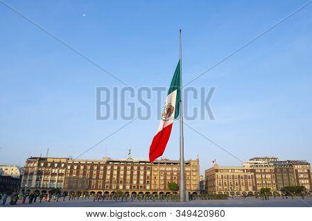 Mexico City - Jan. 15, 2020: Raising Flag Ceremony On Zocalo At Historic Center Of Mexico City Cdmx,