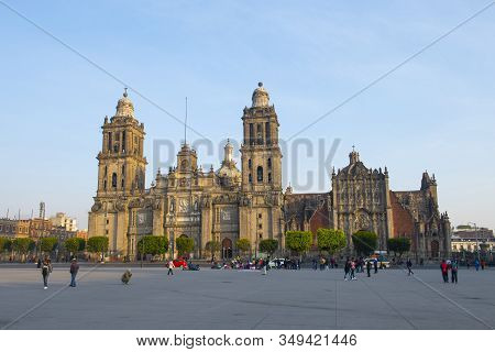 Mexico City - Jan. 15, 2020: Zocalo Constitution Square And Metropolitan Cathedral At Historic Cente