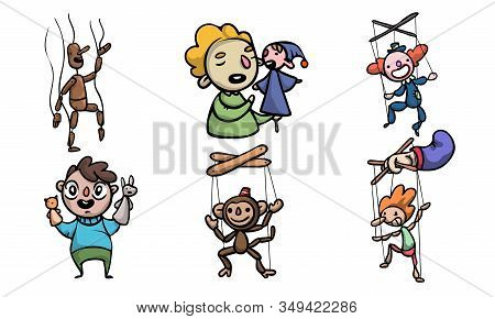 Set Of Puppets, Wooden Marionettes And Puppet Masters Vector Illustration