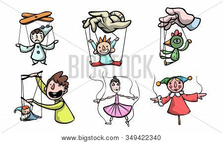 Set Of Puppets, Marionettes And Puppet Masters Vector Illustration
