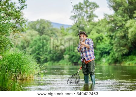 Fish Or Cut Bait. Hobby And Sport Activity. Pothunter. Retired Bearded Fisher. Trout Bait. Fisherman