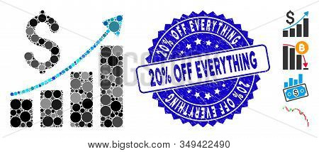 Mosaic Financial Report Icon And Corroded Stamp Watermark With 20 Percent  Off Everything Phrase. Mo