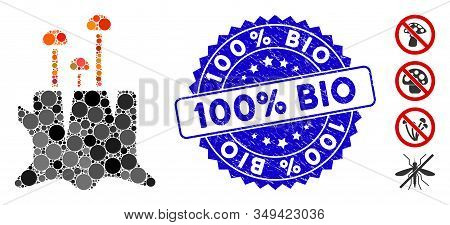 Mosaic Fungus Stump Icon And Grunge Stamp Seal With 100 Percent  Bio Caption. Mosaic Vector Is Forme