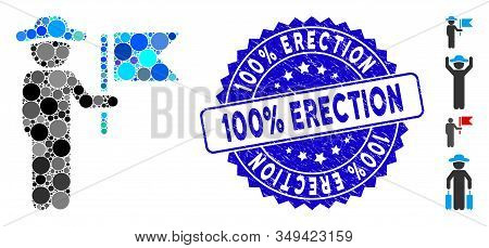 Mosaic Gentleman Commander Icon And Rubber Stamp Seal With 100 Percent  Erection Caption. Mosaic Vec