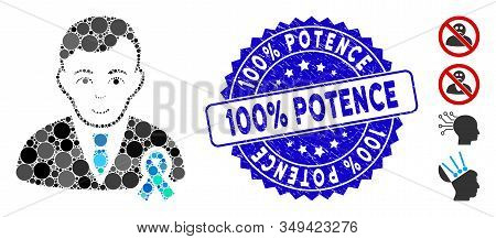 Mosaic Gentleman With Mourning Ribbon Icon And Rubber Stamp Watermark With 100 Percent  Potence Phra