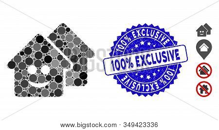Mosaic Happy Realty Icon And Distressed Stamp Seal With 100 Percent  Exclusive Caption. Mosaic Vecto