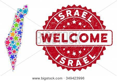 Colorful Israel Map Composition Of Stars, And Scratched Rounded Red Welcome Stamp Seal. Abstract Ter