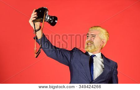Classy And Old School. Manual Settings. Photographer With Beard Mustache. Vintage Style Trend. Conte