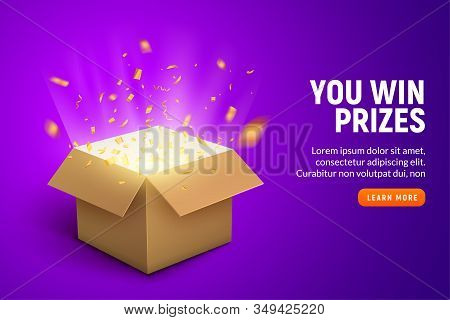 Vector Prize Gift Box Confetti Explosion Background. Open Box Winner Reward
