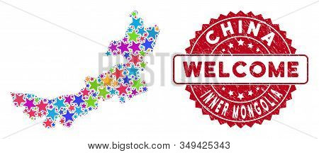 Color Inner Mongolia Map Collage Of Stars, And Distress Rounded Red Welcome Stamp. Abstract Territor