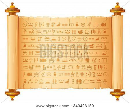 Ancient Egyptian Papyrus With Hieroglyphs. Historical Vector Pattern From Ancient Egypt. 3d Old Scro