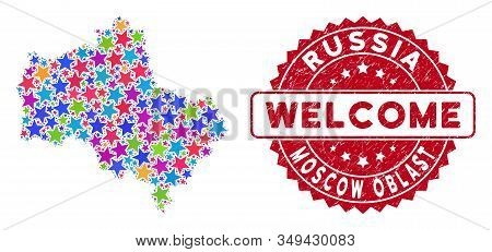 Color Moscow Oblast Map Composition Of Stars, And Textured Rounded Red Welcome Stamp Seal. Abstract