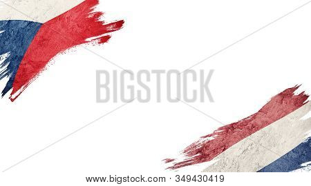 Flags Of Czech Republic And Nederland On White Background