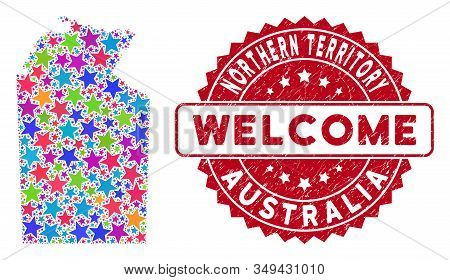 Color Australian Northern Territory Map Mosaic Of Stars, And Distress Round Red Welcome Seal. Abstra