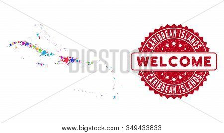 Bright Caribbean Islands Map Mosaic Of Stars, And Distress Round Red Welcome Stamp. Abstract Territo