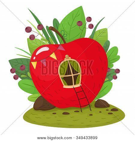 Fairytale Cute Apple - A House In The Grass. Vector Illustration In Cartoon Style.