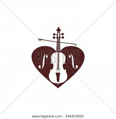 Violin Or Cello Love Heart Music Logo And Vector Icon