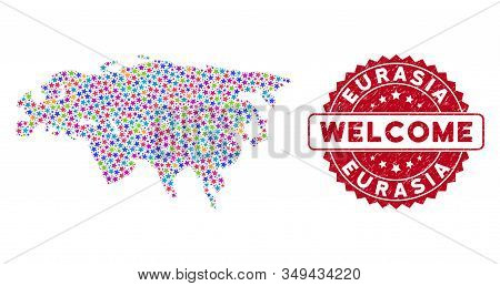 Color Eurasia Map Composition Of Stars, And Textured Rounded Red Welcome Stamp. Abstract Territory S