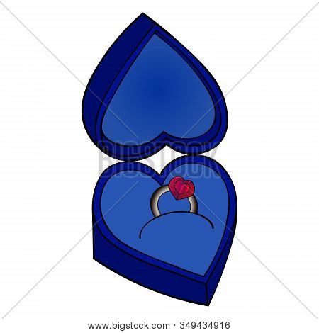 Color Vector Illustration Of A Ring With A Ruby Case-box. Engagement Decoration On An Isolated Backg