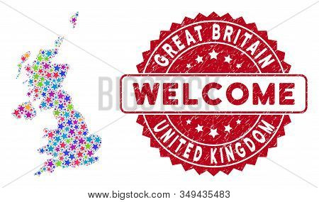 Colorful United Kingdom Map Collage Of Stars, And Textured Rounded Red Welcome Seal. Abstract Territ