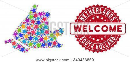Colorful South Holland Map Mosaic Of Stars, And Grunge Rounded Red Welcome Stamp Seal. Abstract Terr