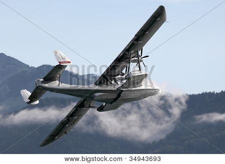 ST. WOLFGANG, AUSTRIA - JULY 7: The Dornier Do.24 is a 1930s German three-engine flying boat. Rare warbird in Air Challenge on July 7, 2012 in St. Wolfgang.