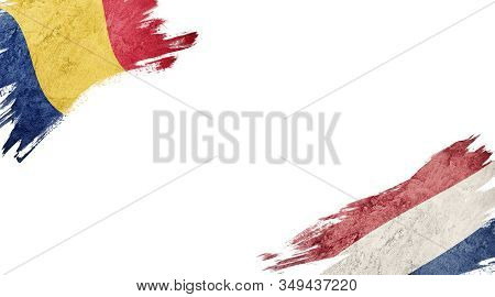 Flags Of Romania And Nederland On White Background