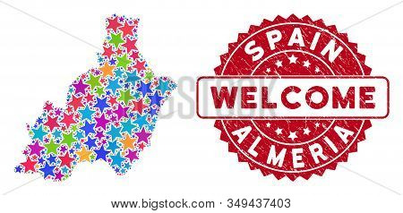 Colorful Almeria Province Map Mosaic Of Stars, And Distress Rounded Red Welcome Seal. Abstract Terri