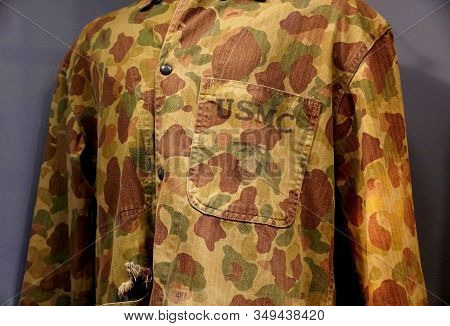 New Orleans, Louisiana, U.s.a - February 4, 2020 - The Usmc Reversible Camouflage Jacket Issued To S