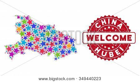 Colorful Hubei Province Map Composition Of Stars, And Grunge Rounded Red Welcome Stamp. Abstract Ter