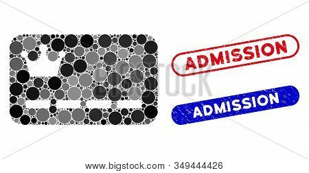 Mosaic Vip Card And Grunge Stamp Seals With Admission Phrase. Mosaic Vector Vip Card Is Created With