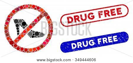 Collage No Lady Shoe And Grunge Stamp Seals With Drug Free Text. Mosaic Vector No Lady Shoe Is Compo