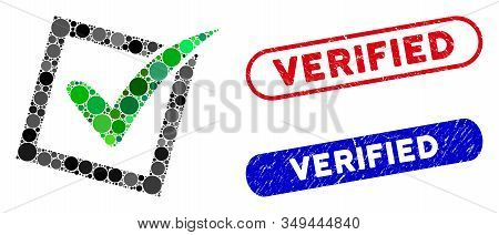 Mosaic Yes Poll And Distressed Stamp Watermarks With Verified Caption. Mosaic Vector Yes Poll Is For
