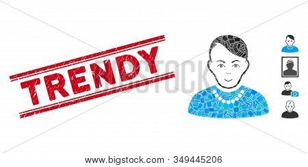 Mosaic Trendy Guy Icon And Red Trendy Seal Stamp Between Double Parallel Lines. Flat Vector Trendy G
