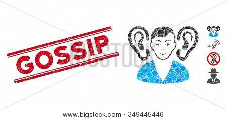 Mosaic Listener Icon And Red Gossip Seal Stamp Between Double Parallel Lines. Flat Vector Listener M