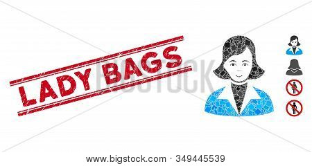 Mosaic Lady Icon And Red Lady Bags Stamp Between Double Parallel Lines. Flat Vector Lady Mosaic Icon