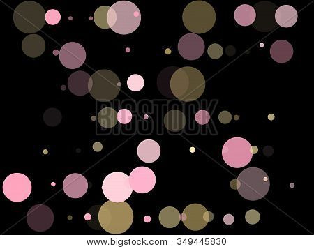 Pink Gold Confetti Circle Decoration For Christmas Card Background. Bokeh Lights Effect Vector. Gold