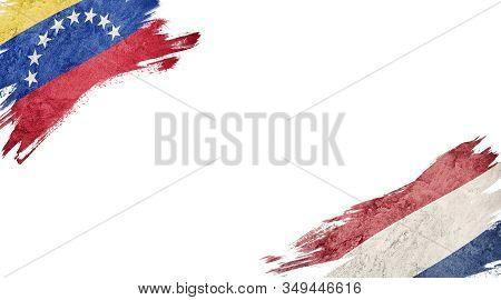 Flags Of Venezuela And Nederland On White Background