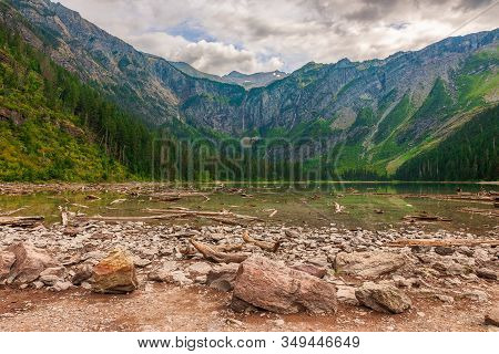 View Of Lake Avalanche And The Surrounding Mountains In Autumn. Glacier National Park. Flathead Coun