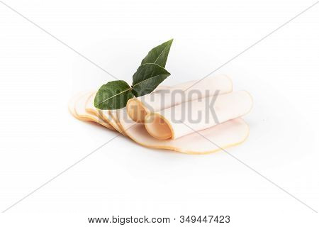 A Few Poultry, Chicken, Cold Cuts Slices, Isolated On White Background.