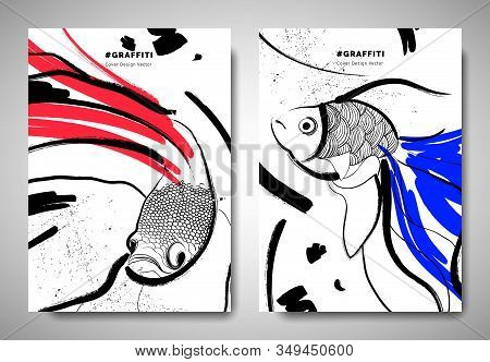 Cover/ Invitation Card Template Design, Abstract Hand Drawn Brush Painting Fighting Fish, Goldfish A