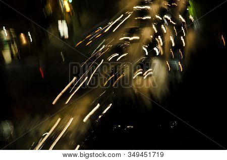 Aerial Night View Of A Street In Buenos Aires, Argentina. Image With Movement, Pictorial And Dreamli
