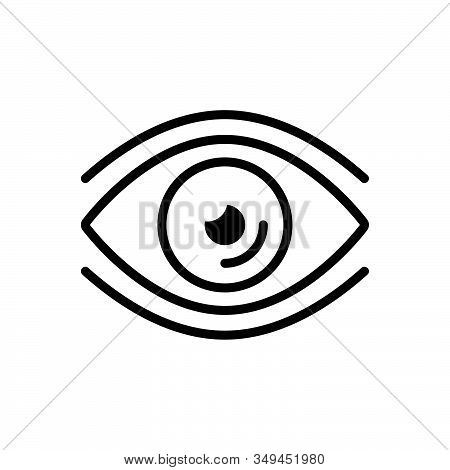 Black Line Icon For Eye Vision See View Look Sight Watch Eyesight Peep Eyeball Glimmers Optical