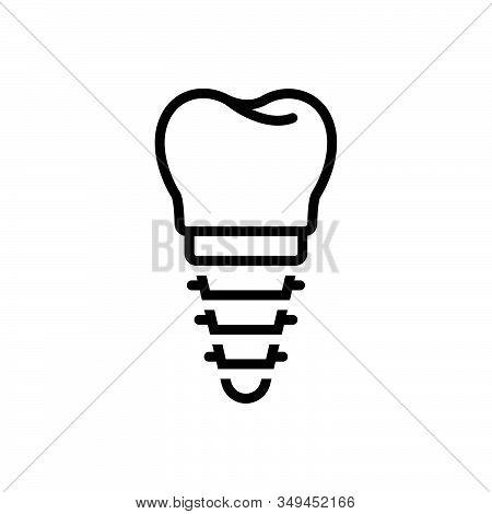 Black Line Icon For Implant Braces Dental Denture Root Orthodontist Surgery