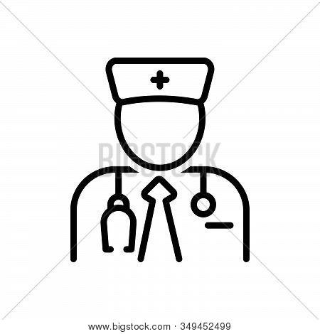Black Line Icon For Specialist Expert Connoisseur Advisor Stethoscope Doctor Medical