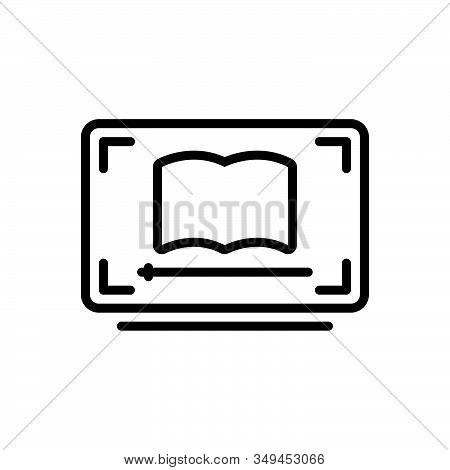 Black Line Icon For Video-lesson Video Lesson Ebook Education Guidance Teaching Webinar Network Onli