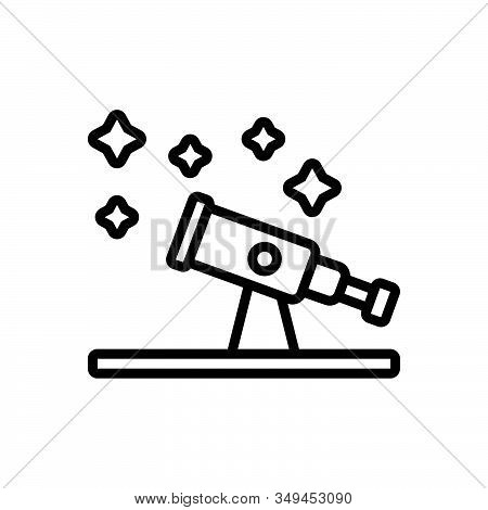 Black Line Icon For Astronomy Telescope Discover Space Scope Equipment Magnify Observation Spyglass