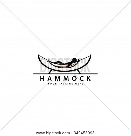 Silhouette Hammock Logo Design, A Place To Relax While On Vacation, Hammock Silhouette Vector Symbol