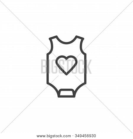 Baby Romper With Heart Line Icon. Infant Jumpsuit Clothes Linear Style Sign For Mobile Concept And W