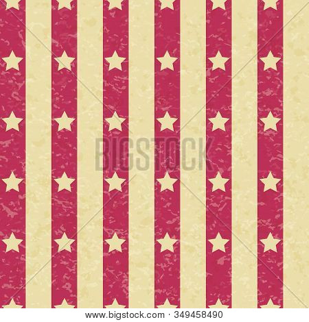 Circus Carnival Retro Vintage Stripes With Stars Seamless Pattern. Textured Old Fashioned Graphic Te